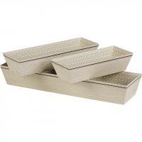 Corbeille carton rectangle beige décor effet bois 24x10x6 cm