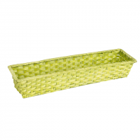 Corbeille rectangle bambou verte (44 x 12 x 7cm)